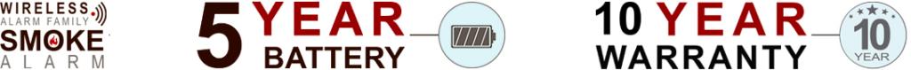 Trådløs røykvarsler - 5 års batteri - 10 års garanti