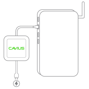 Cavius HUB lyser grønt